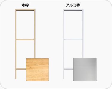 選挙立て看板 外枠は木製とアルミ製から選べます